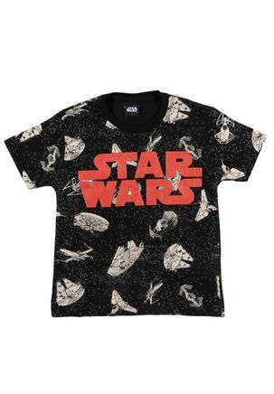 Camiseta-Manga-Curta-Star-Wars-Infantil-Para-Menino---Preto