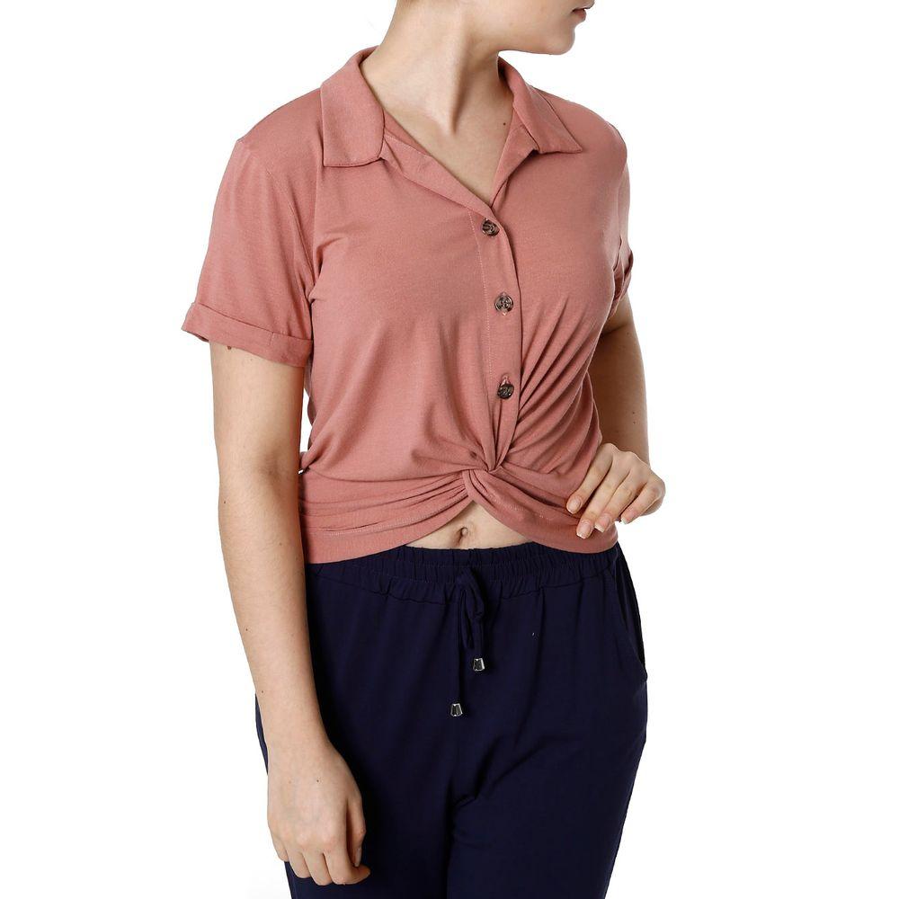 d655eb8f64 Camisa Manga Curta Feminina Autentique Rose - Lojas Pompeia
