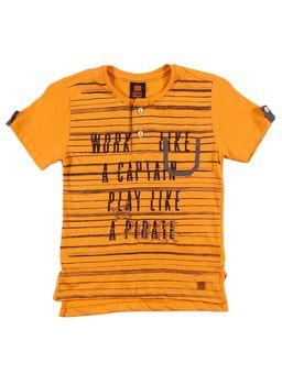 Camiseta-Alongada-Manga-Curta-Infantil-para-Menino---Laranja