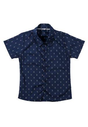 Camisa-Manga-Curta-Infantil-Para-Menino---Azul-Marinho