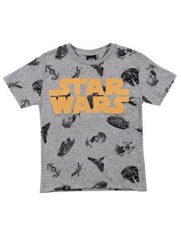 Camiseta-Manga-Curta-Star-Wars-Infantil-Para-Menino---Cinza