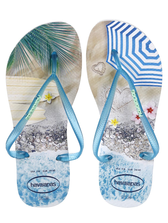 9e731a02cc Chinelo Feminino Havaianas Slim Paisage Bege azul - Lojas Pompeia