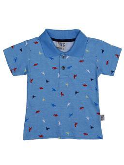 Polo-Manga-Curta-Infantil-Para-Bebe-Menino---Azul-M