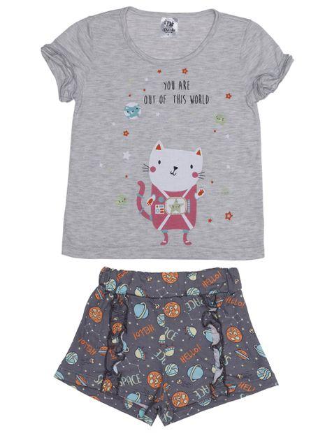 Pijama-Curto-Infantil-Para-Menina---Cinza-6