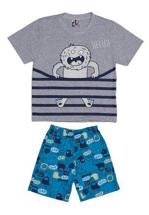 Pijama-Curto-Infantil-Para-Menino---Cinza-azul-6