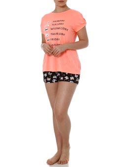 Pijama-Curto-Feminino-Laranja-preto-P