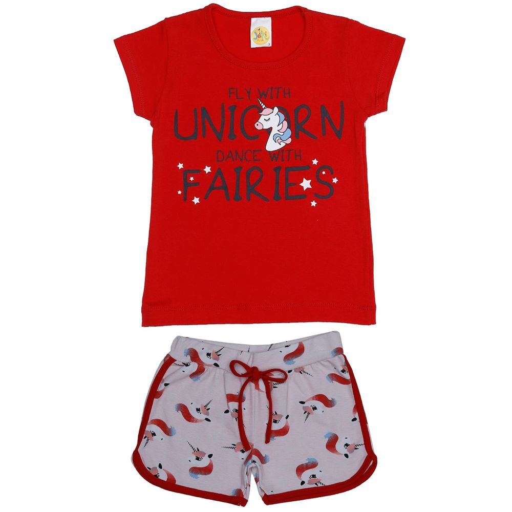Conjunto Infantil Para Menina - Vermelho - Lojas Pompeia d52bcc9848b9f