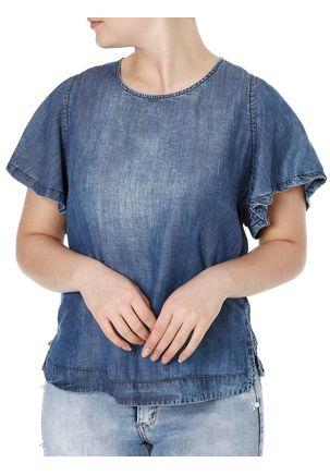 Blusa-Jeans-Manga-Curta-Feminina-Azul