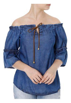 Blusa-Jeans-Manga-3-4-Feminina-Cambos-Azul-P