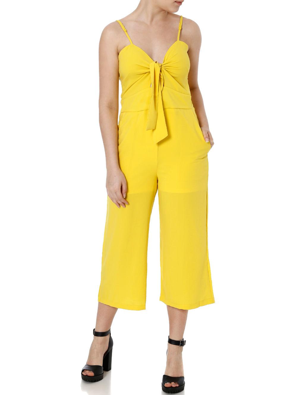 22b60316a Macacão Pantacourt Feminino Amarelo - Lojas Pompeia