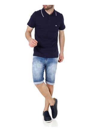 Polo-Manga-Curta-Masculina-Azul-Marinho-P