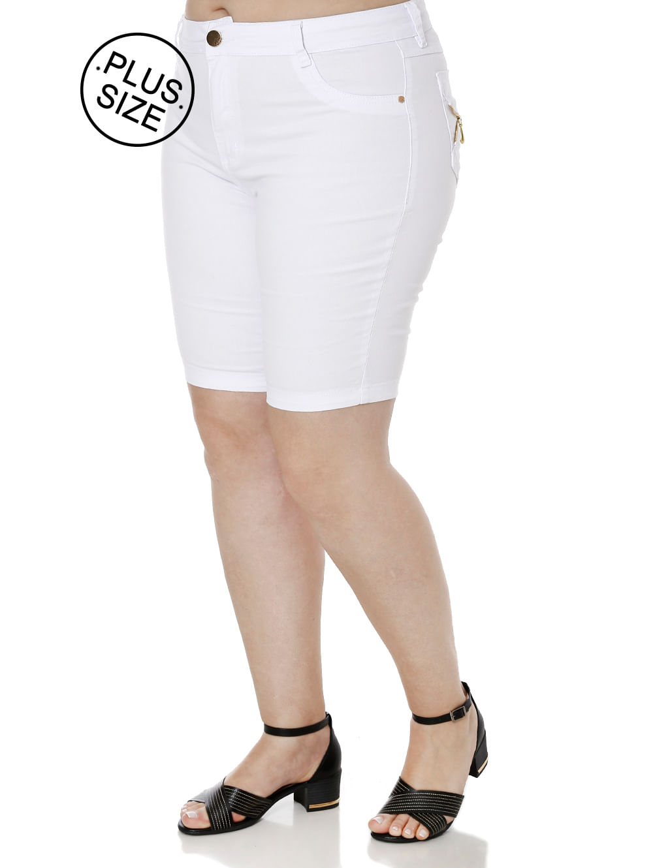 acca4a6f0 Bermuda Sarja Plus Size Feminina Branco - Lojas Pompeia