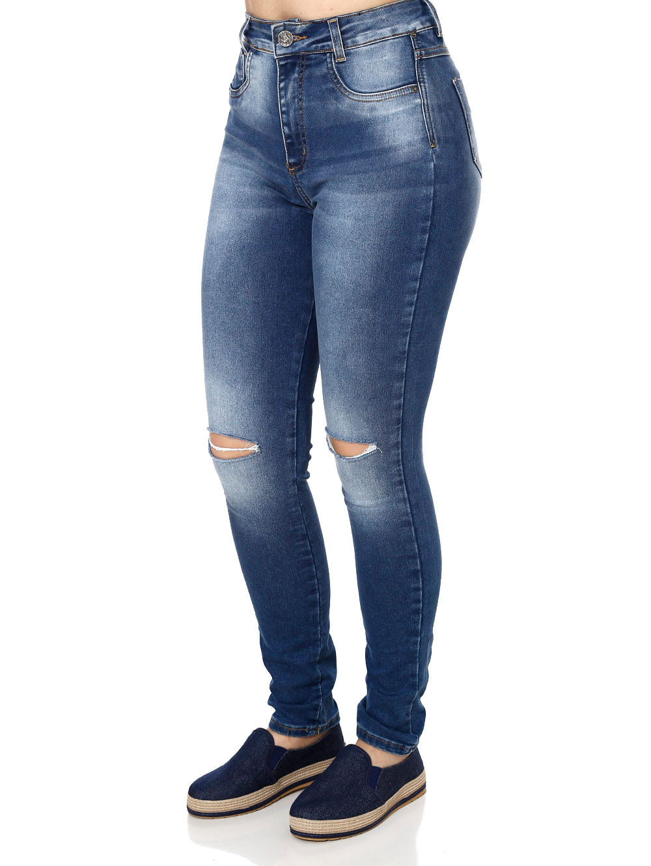 bb0d2e84b Calça Jeans Feminina Sawary Azul - Lojas Pompeia