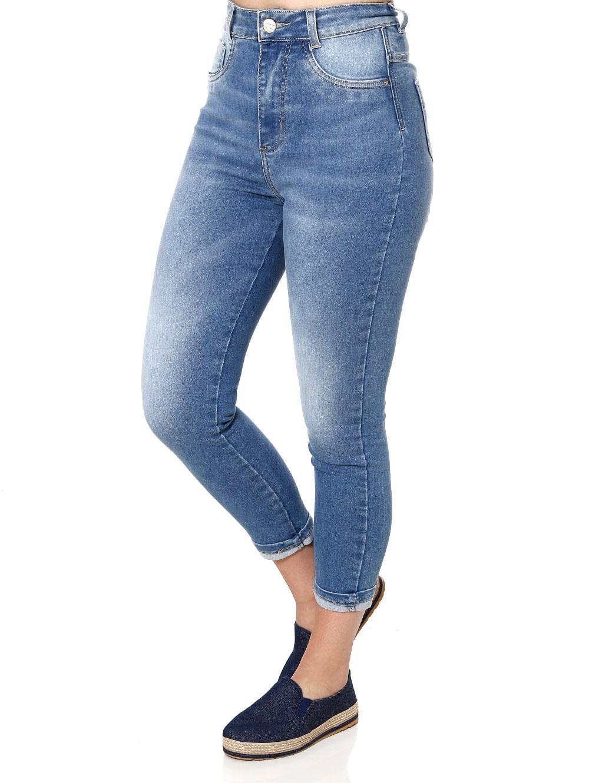 4ffccec8a Calça Cropped Jeans Feminina Sawary Azul - Lojas Pompeia