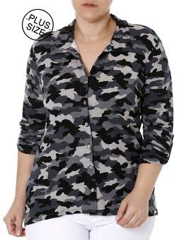 Camisa-Manga-3-4-Camuflada-Plus-Size-Feminina-Autentique-Cinza-G2