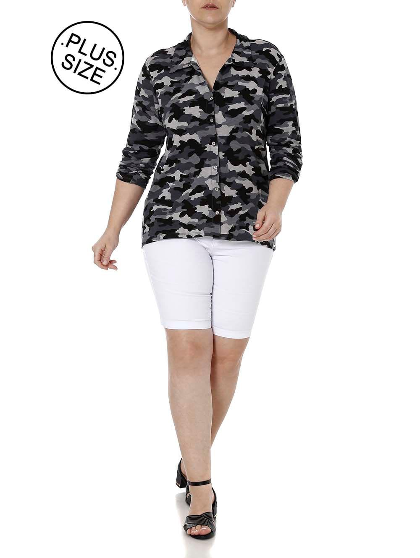 b88c5f896672a Camisa Manga 3 4 Camuflada Plus Size Feminina Autentique Cinza ...