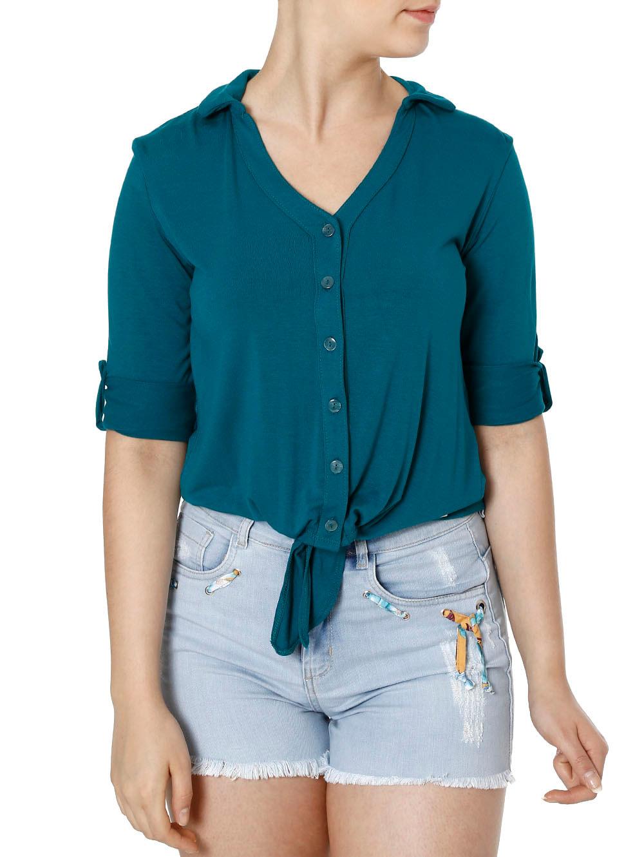 05f3b8097 Camisa Manga 3 4 Feminina Autentique Verde - Lojas Pompeia