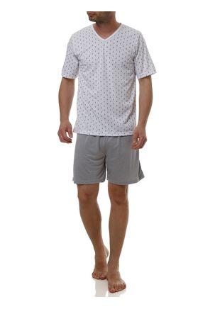 Pijama-Curto-Masculino-Branco-cinza-P