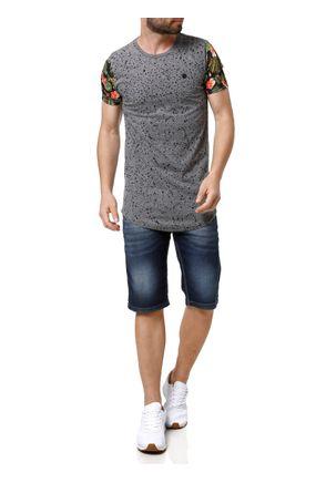 Camiseta-Manga-Curta-Alongada-Masculina-Cinza-P