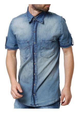 Camisa-Jeans-Manga-Curta-Masculina-Zune-Azul-P