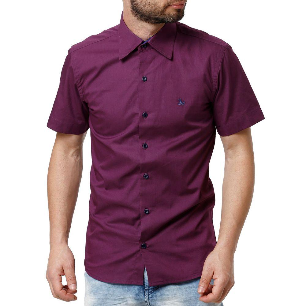 Camisa Slim Manga Curta Masculina Roxo - Lojas Pompeia fc7f244aee8e0