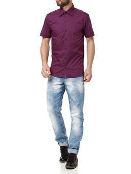 Camisa-Slim-Manga-Curta-Masculina-Roxo