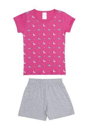 Pijama-Curto-Infantil-Para-Menina---Rosa-cinza-6
