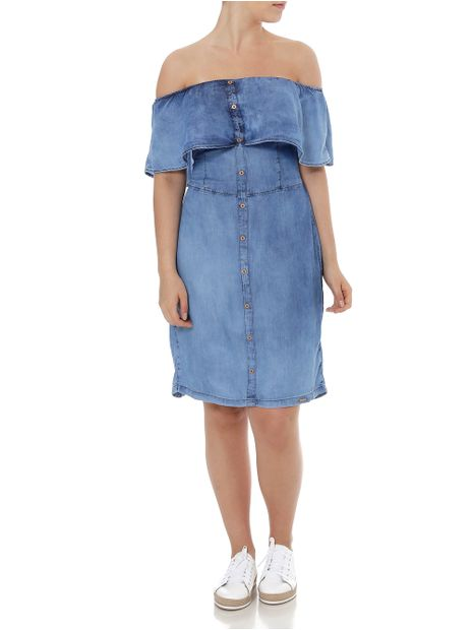 Vestido Ciganinha Jeans Feminino Azul