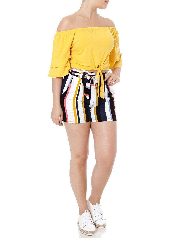 e5a7d4e377 Short de Tecido Feminino Azul Marinho amarelo - Lojas Pompeia