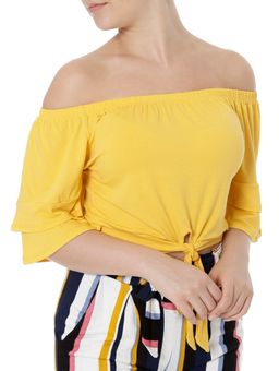 Blusa-Manga-Curta-Feminina-Ciganinha-Autentique-Amarelo-P