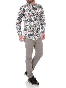 Camisa-Manga-Longa-Masculina-Bege-estampado-1