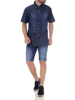 Camisa-Jeans-Slim-Manga-Curta-Masculina-Azul