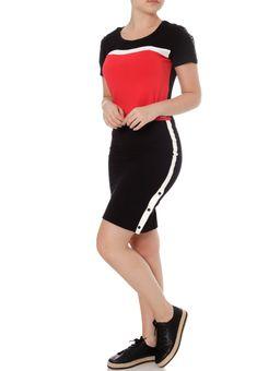 Blusa-Manga-Curta-Feminina-Autentique-Vermelho-preto-P