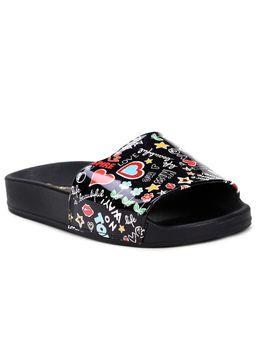 Chinelo-Slide-Molekinha-Infantil-para-Menina---Preto-multicolorido