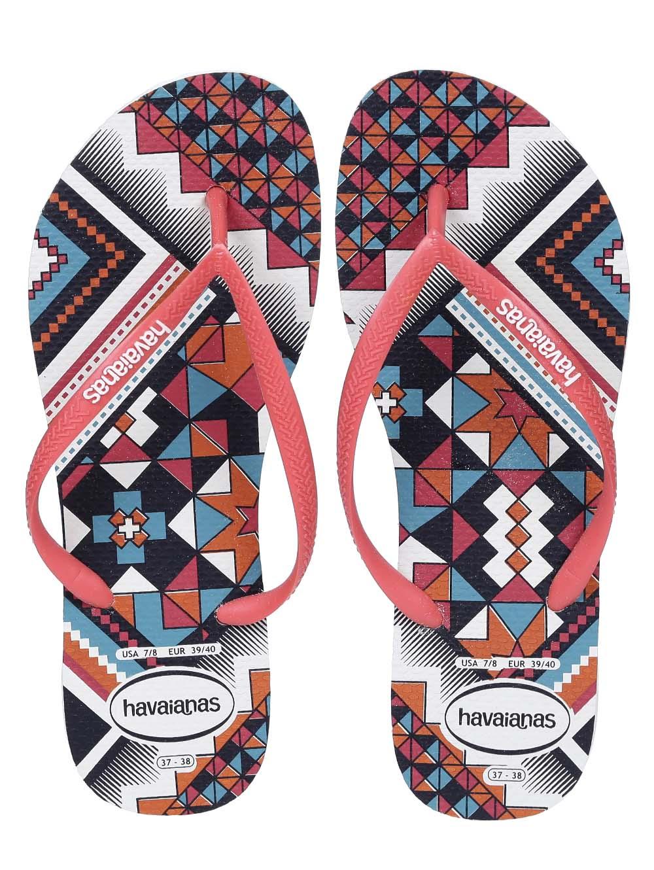3e71e098ea Chinelo Feminino Havaianas Slim Tribal Branco laranja - Lojas Pompeia