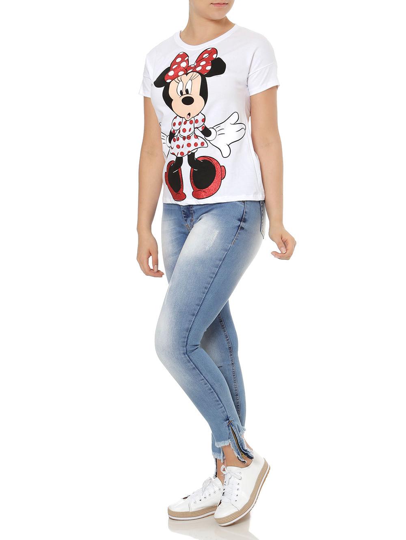 c5c62dc30a Blusa Manga Curta Feminina Disney Branco - Lojas Pompeia
