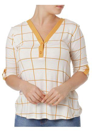 Blusa-Manga-3-4-Feminina-Autentique-Branco-amarelo-P