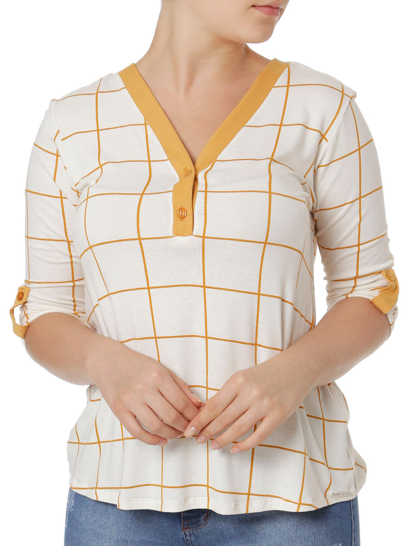cb0eca55d5 Blusa Manga 3 4 Feminina Autentique Branco amarelo - Lojas Pompeia