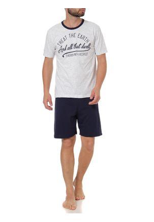Pijama-Curto-Masculino-Cinza-azul-Marinho-P