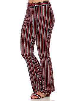 Calca-de-Tecido-Flare-Feminina-Vermelho-preto-P