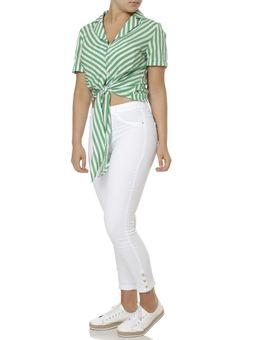 Camisa-Manga-Curta-Feminina-Verde-branco-P