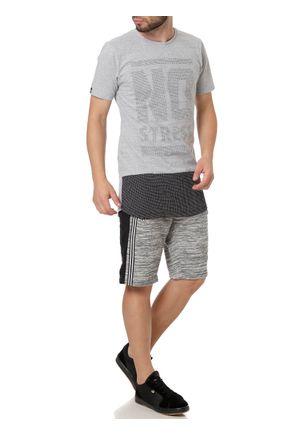 Camiseta-Manga-Curta-Alongada-Masculina-No-Stress-Cinza-P