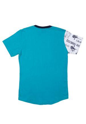 Camiseta Manga Curta Alongada Juvenil Para Menino - Azul 4f020816d3acf