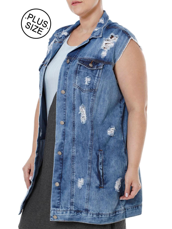 28bea04c5 Colete Jeans Plus Size Feminino Azul - Lojas Pompeia