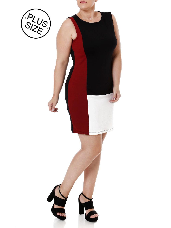 Vestido Plus Size Feminino Pretovermelho