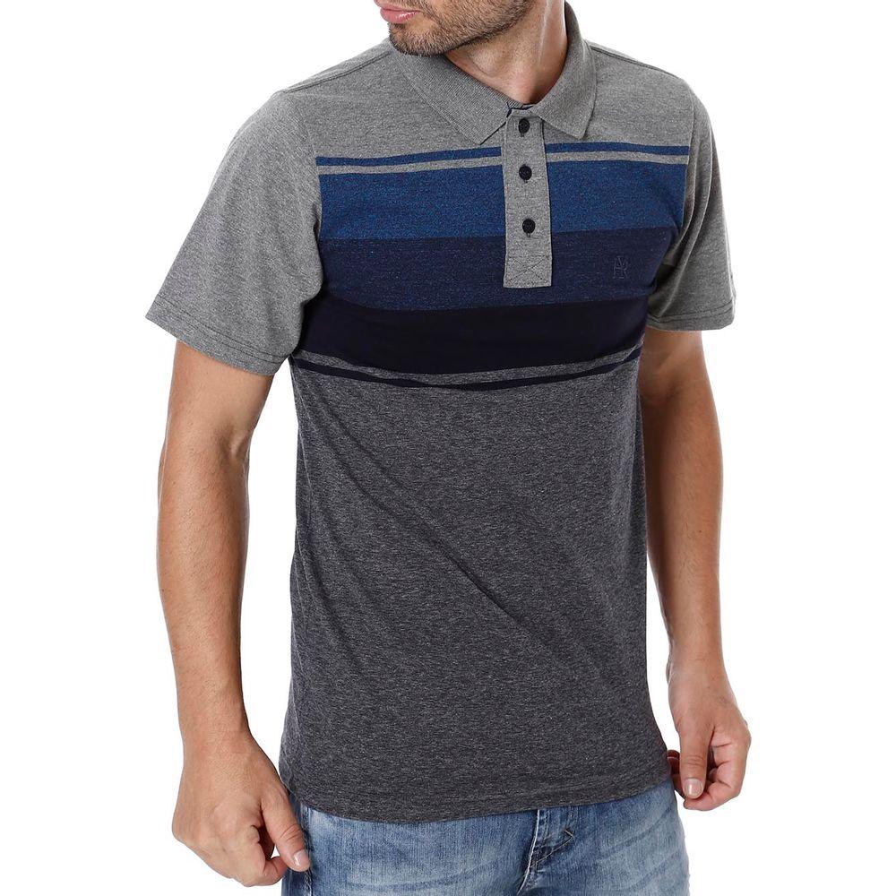 ee1a67e36d Camiseta Manga Curta Masculina Preto cinza - Lojas Pompeia