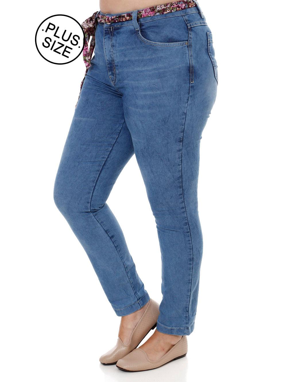 16633cfd2 Calça Jeans Cropped Plus Size Feminina Azul - Lojas Pompeia