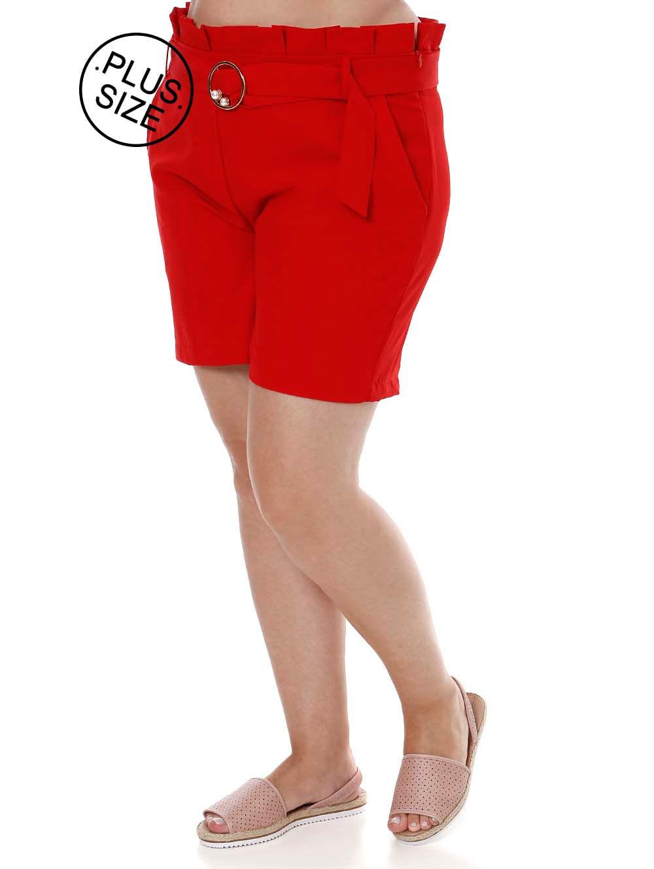 27abbed011 Short de Tecido Plus Size Feminino Vermelho - Lojas Pompeia