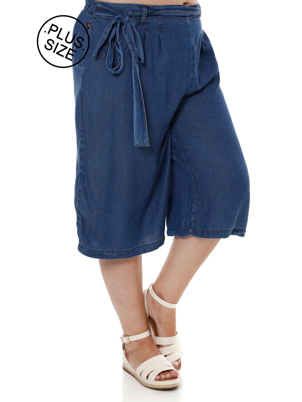 4d6db2c8189c20 Calca Capri Plus Size Feminino Cambos Azul