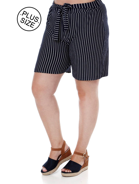 998707663d Short de Tecido Plus Size Feminino Azul Marinho - Lojas Pompeia